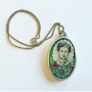 FRIDA KHALO Inlaid Resin Pendant & Sterling Chain